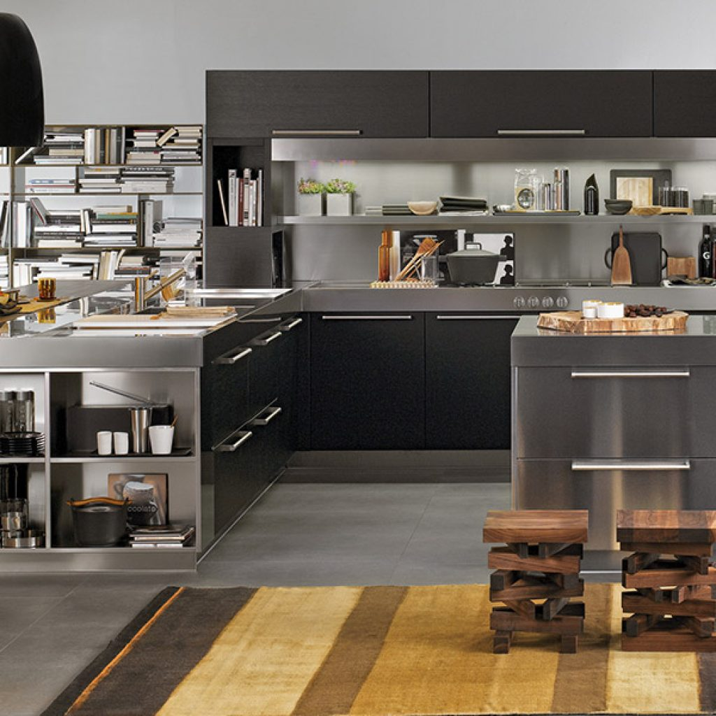 developing a modern kitchen area with a stainless steel back